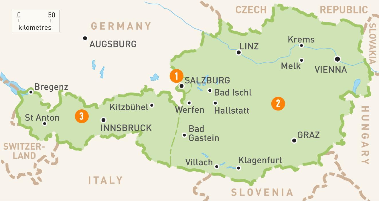 Osterrike Karta En Karta Over Osterrike Vastra Europa Europa