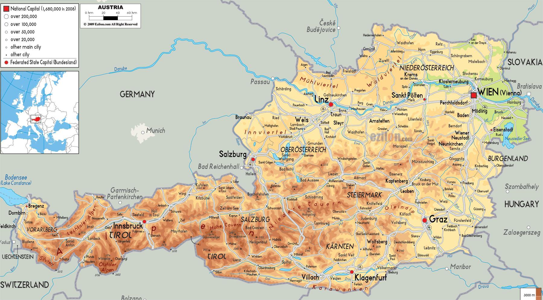 Osterrikiska Alperna Karta Osterrike Bergen Karta Vastra Europa